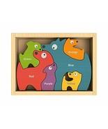 BeginAgain Dog Family Color Names Puzzle - Bilingual Wooden Colors - 2 a... - $13.78
