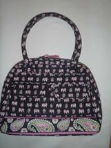 Vera Bradley Large BOWLER Bag Pink Elephants Retired + Bonus - $55.81