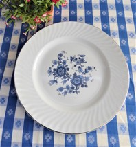 Wedgwood Royal Blue Dinner Plate 10 Inches 1960s Floral Blue White Platinum Trim - $18.00