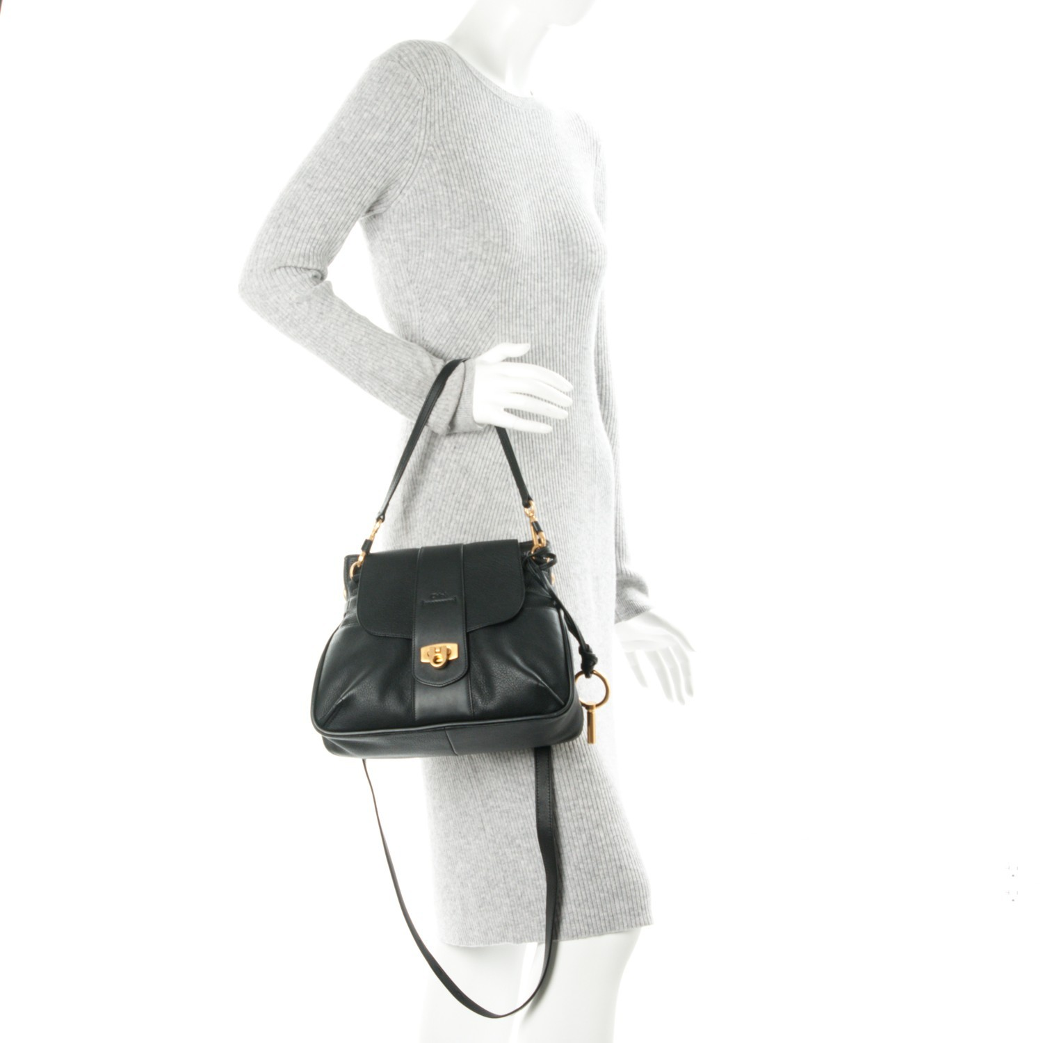Chloe Lexa Black Lambskin Leather Shouler Bag Retail $1700