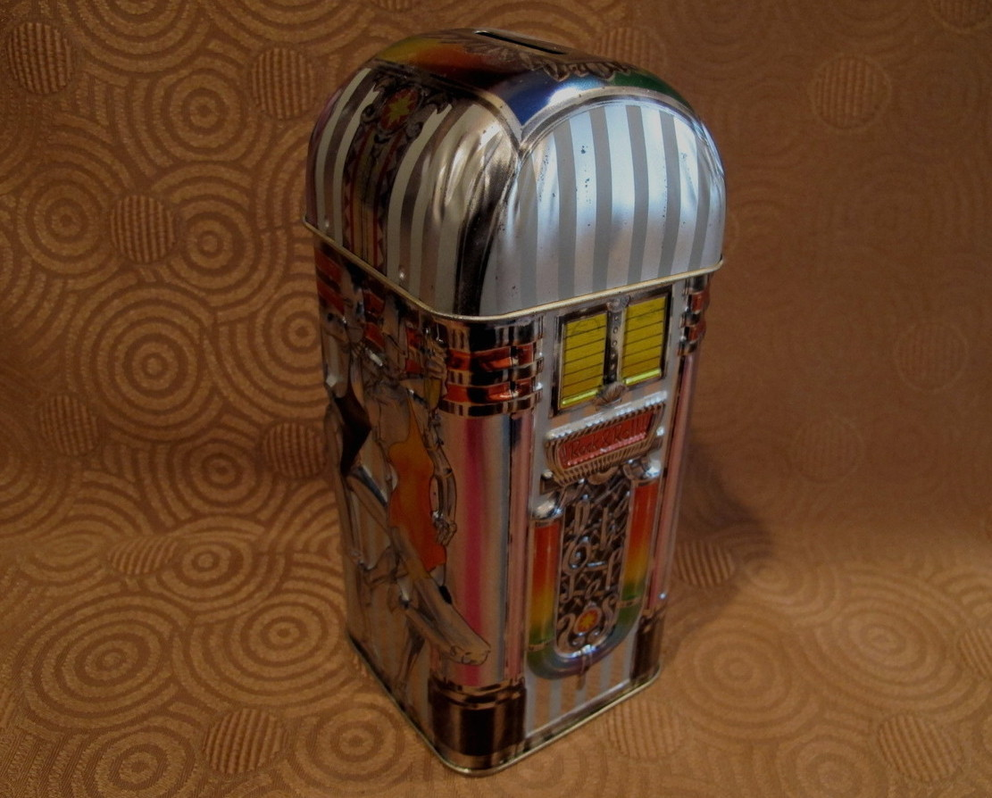 Churchills of England Money Box Tin Can Vintage Souvenir Piggy Bank JUKEBOX 2000