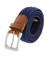 "Navy Fabric Leather Elastic Woven Stretch Belt 1-3/8"" Wide - $12.95"