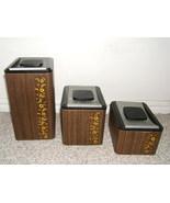 VINTAGE 1960s KROMEX USA WOODGRAIN METAL 3 CANISTER SET - $16.00