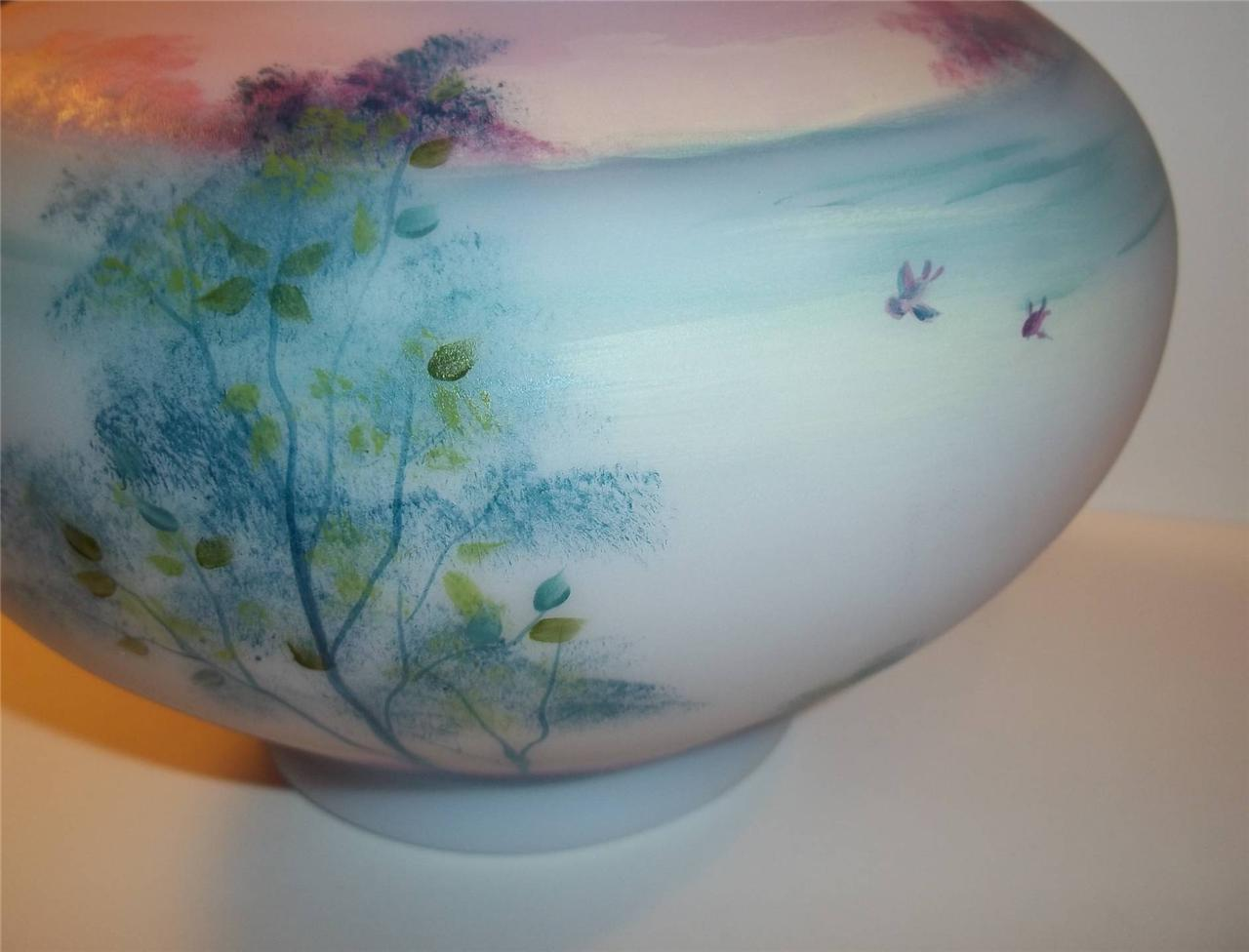 Fenton Glass BLUE BURMESE Misty Morn Tree Scene Vase Limited Ed #2/15 Kim Barley