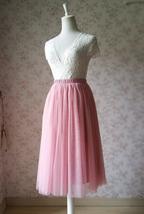 Dusty Rose High Waist Midi Tulle Skirt Dusty Rose Bridal Bridesmaid Tulle Skirts image 3