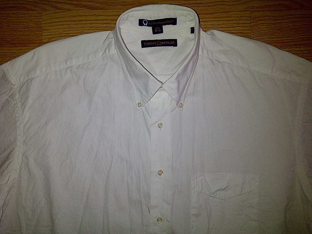 Tommy Hilfiger White Long Sleeve Button Front Down Up Dress Shirt 17 1/2 34/35