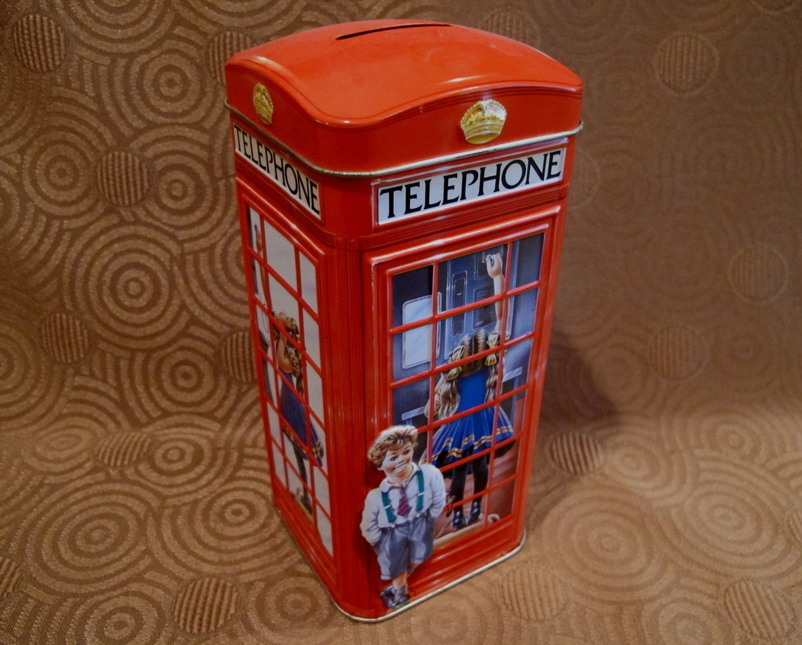 Churchills of England Money Box Tin Can Vintage Piggy Bank TELEPHONE KIOSK KIDS