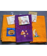 3 Halloween Embroidered Purple & orange Fingertip Towel - $9.99