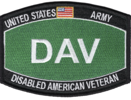 "4.5"" Army Mos Disabled American Veteran Dav Embroidered Patch - $23.74"