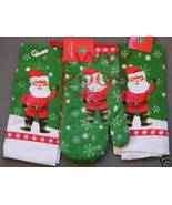 Christmas Santa Claus Kitchen Towel & Oven Mitt Set NEW - $9.99