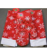 Red Holiday Snowflake Kitchen Towel & Oven Mitt Set NEW - $9.99