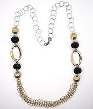 Silver necklace 925, Onyx, Oval Corrugated, Spheres Satin, Chain Rolo image 2