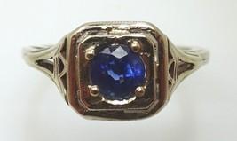 Charming 14k Gold Deco Filigree Genuine Natural Sapphire Ring (#401) - $337.73