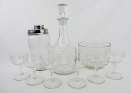 Barware, Cocktail Shaker, Decanter, Ice Bucket, 6 Glasses, Vintage Match... - $68.55