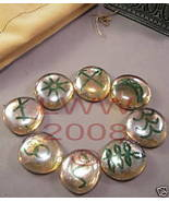 Round Peach Glass Witches Runes- Wiccan Pagan - $3.99