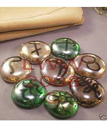 Peach & Green Glass Witches Runes- Wiccan Pagan- New  - $3.99