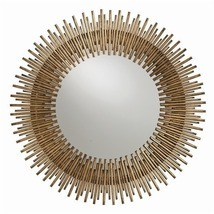 "ANTIQUED GOLD ROUND IRON MIRROR, 30.5"" DIA, MID CENTURY MODERN, Hollywoo... - £710.90 GBP"
