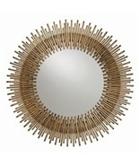 "ANTIQUED GOLD ROUND IRON MIRROR, 30.5"" DIA, MID CENTURY MODERN, Hollywoo... - £711.76 GBP"