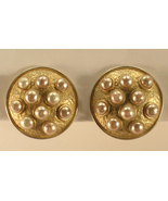 Jaded Brand Gold Colored Metal and Imitation Pearl Clip On Earrings ©1991 - $14.50