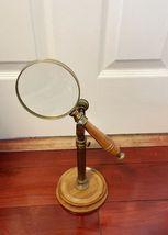 Vintage Desk Table Decorative Wood Magnifying Glass And Holder Desktop image 4