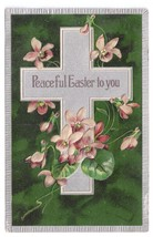 Vintage 1908 Easter Postcard Silver Cross Violets Embossed PFB Paul Finkenrath  - $4.99