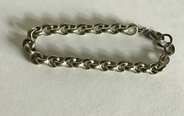"Vintage Bracelet 1980's SilverTone Link Chain 7.5"" Long - $6.64"