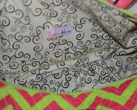 Rosen Blue  CC703 Fuchsia Lime Chevron Pattern Duffle Bag image 5