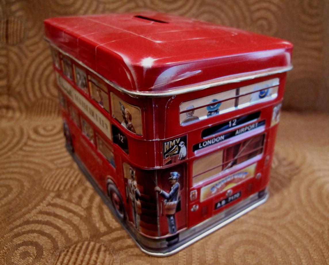 Churchills of England Money Box PIGGY BANK Tin Can Vintage LONDON DOUBLEDECKER