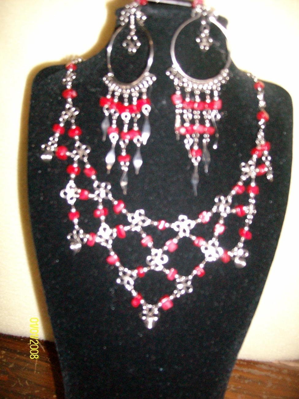 Red Glass Beadwork Necklace & Earrings (S 3) Bonanza