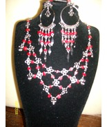 Red Glass Beadwork Necklace & Earrings (S 3) - $19.95