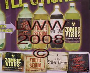 4 Large Halloween Potion Bottle Labels NIP- Truth Serum Bonanza