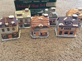 6 Dickens Village Bell Lites With Box Christmas Ornaments - $25.00