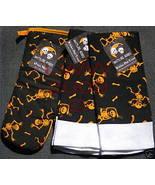 2 Black & Orange Skeleton Halloween towels & oven mitt - $9.99