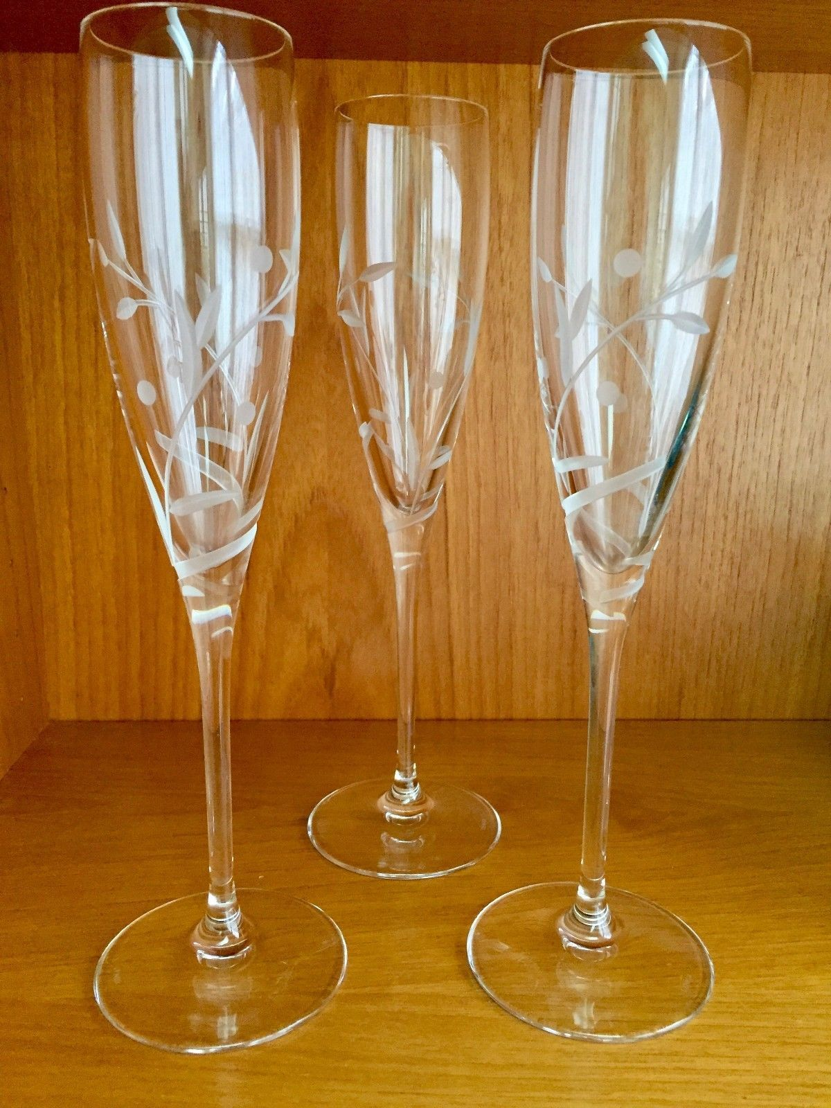 "Primary image for 3 LENOX 10 1/4"" TALL STEM CHAMPAGNE FLUTES CUT GLASS CRYSTAL"