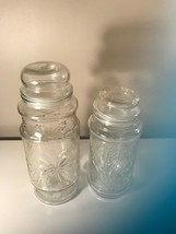 "EUC!  2 Vintage Etched Jars-10"" & 8"" Tall-Candy/Cookies/Food-Sealed Lids - $2.96"