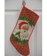 Santa Holly Completed Needlepoint Christmas Stocking NICE! - $17.81
