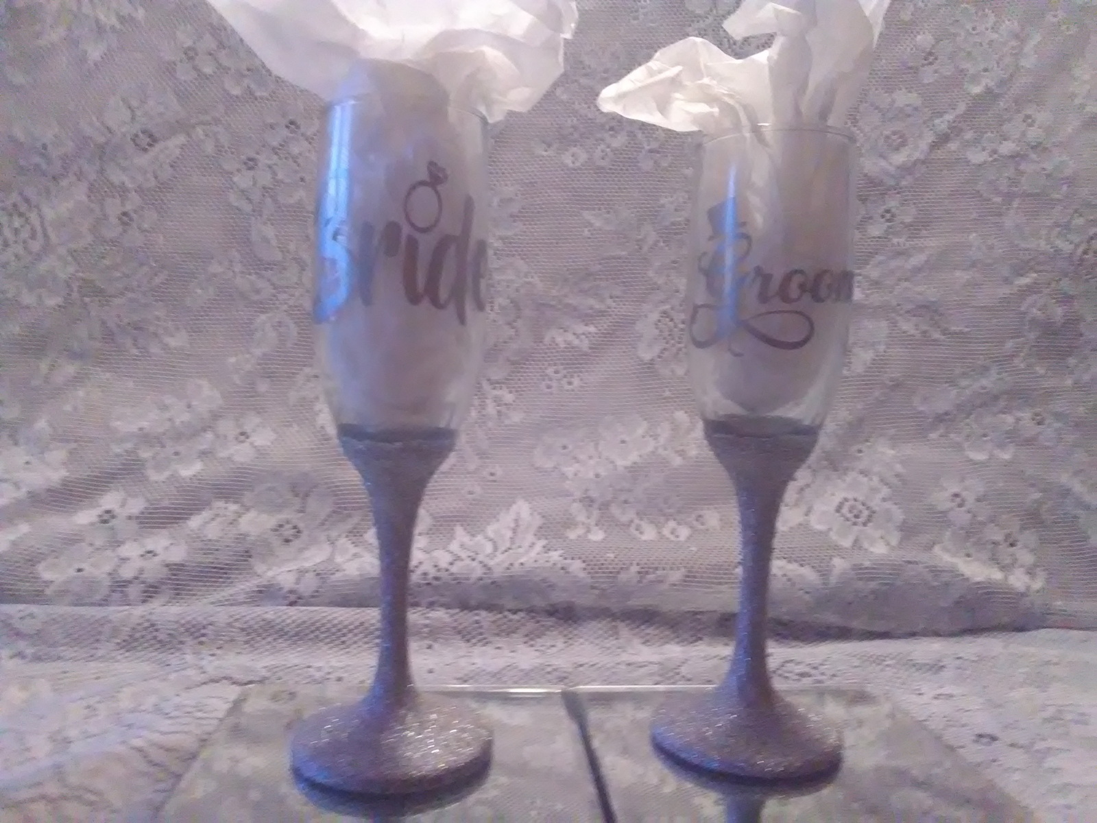 Primary image for 2pc. Silver Glittered Wedding Glasses Set