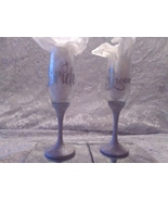 2pc. Silver Glittered Wedding Glasses Set - $29.01