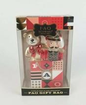 FAO Schwarz Nutcracker Toy Soldier & Bear Gift Bag Ornament Hand Blown G... - $17.05