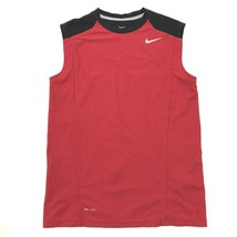 NIKE Fitted Sleeveless Athletic Jersey Size Large Red Perforated Back DR... - $24.48