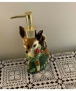 Cute Ceramic Christmas Holiday Reindeer Hand Lotion Soap Dispenser 9 Inch - £6.43 GBP