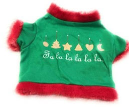 Dog Shirt Size Small Puppy Clothing Pet Green Red Trim Fa La La La La La - $7.88