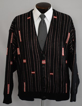 Vintage 80s Button Front Striped Cardigan Geometric Print Size Medium to... - $59.99