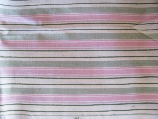 MBT Pastel Pink Green Ivory Stripe Cotton Fabric 1 Yd
