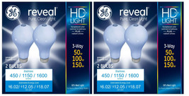 4 GE Lighting 3-Way Reveal HD+ Light Bulb 50/100/150-Watt A21 Incandescent NEW