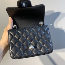 NEW AUTHENTIC CHANEL BLACK QUILTED LAMBSKIN SQUARE MINI CLASSIC FLAP BAG SHW image 6