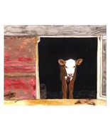 Dolly Estrelle Hay World Cow Calf Beautiful Vibrant 11x14 Art Print Poster - $14.99