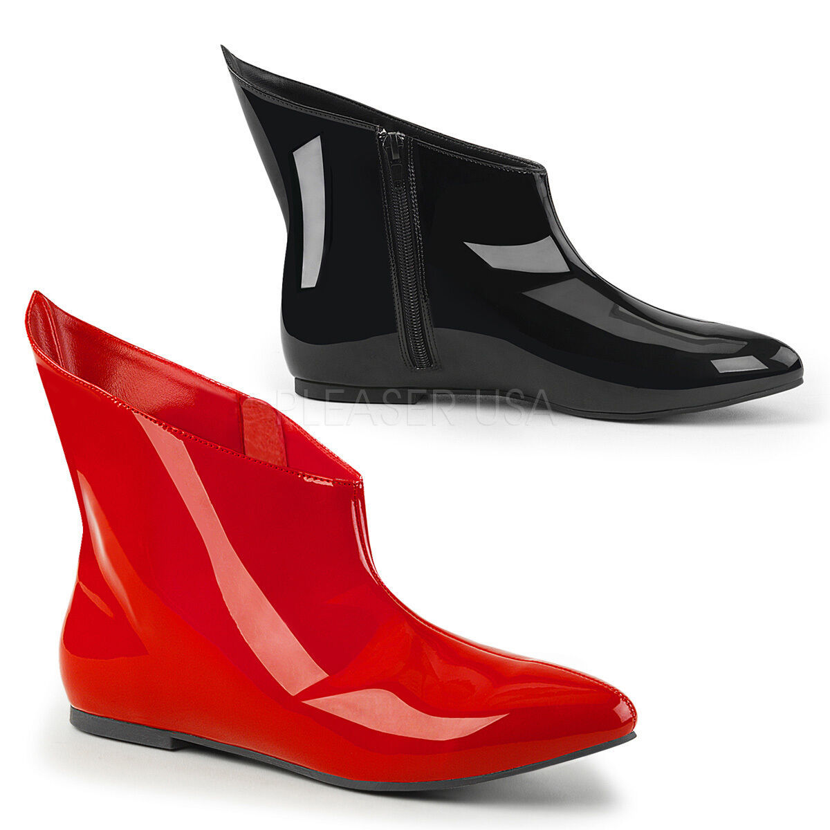 Primary image for Pointed Toe Dual Colored Flat Harley Quinn Ankle Boots Halloween Costume Shoes