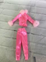 Barbie Fashion Avenue Boutique 1997 Pink Satin Fur Pant Suit Outfit Set 18126 - $19.79