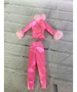 Barbie Fashion Avenue Boutique 1997 Pink Satin Fur Pant Suit Outfit Set ... - $19.79
